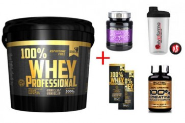 100% Whey Protein 5 KG Gold's Nutrition + BCAA 6400 375cpr e Creatina 100g Scitec Nutrition + Omaggi